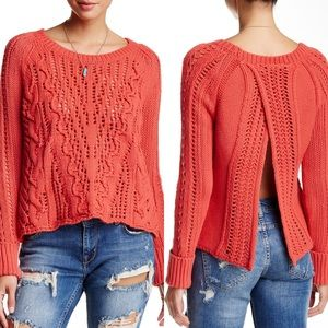 NWOT Free People Cross Cable Split Back Sweater
